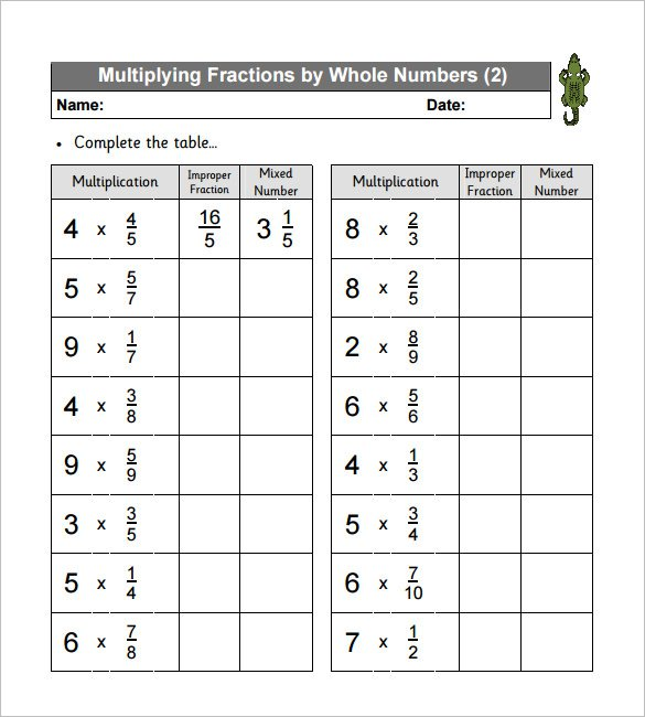 11+ Multiplying Fractions Worksheet Templates – Free Pdf Documents
