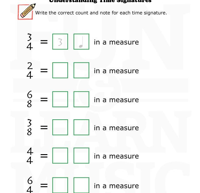 12 Best Time Signature Images On Free Worksheets Samples