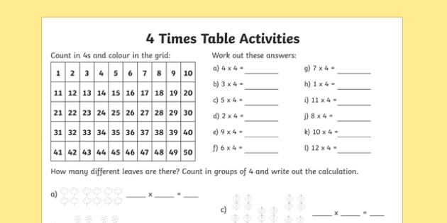 4 Times Table Worksheet   Activity Sheet