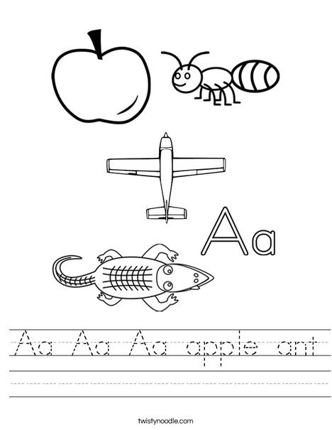 Aa Aa Aa Apple Ant Worksheet