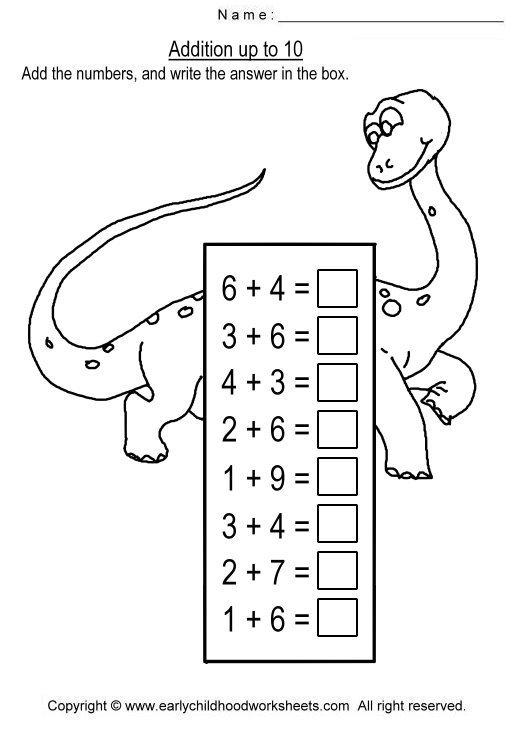Addition Up To 10 Worksheets For Preschool And Kindergarten