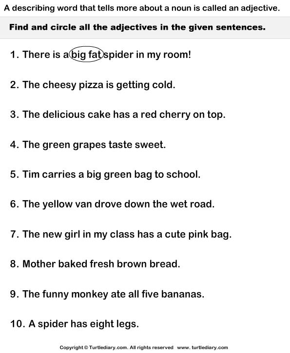 Adjectives In Sentences Worksheet