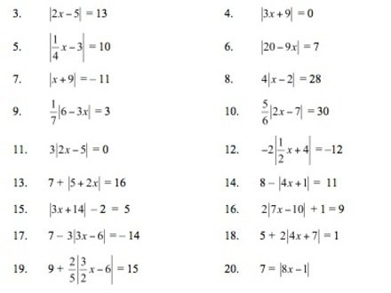 All Worksheets » Absolute Value Worksheets