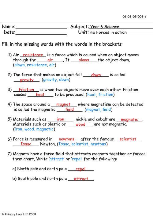 All Worksheets » Force Worksheets