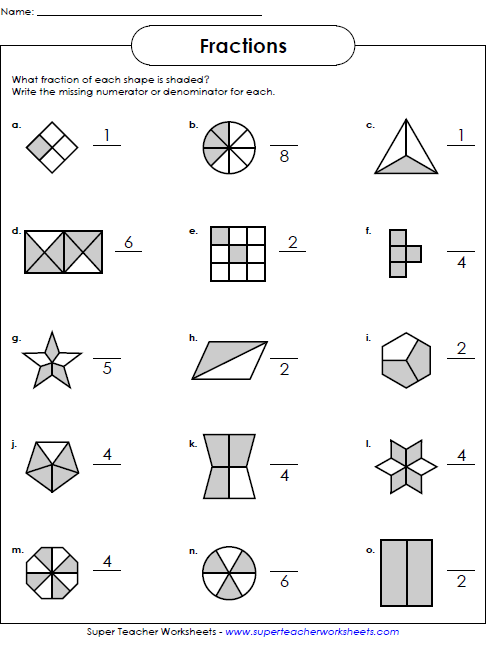 Basic Fraction Worksheets & Manipulatives