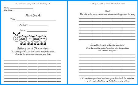 Caterpillar Book Report Project  Templates, Worksheets, Grading
