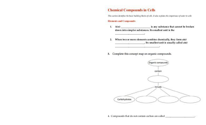 Chemical Compounds In Cells Worksheet