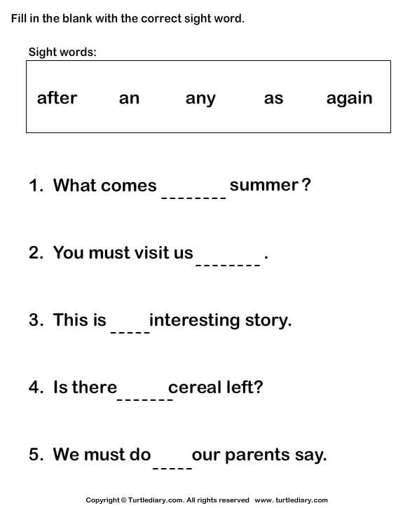 Choose A Sight Word To Complete The Sentence Worksheet