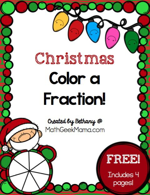 Christmas Fraction Worksheets For 3