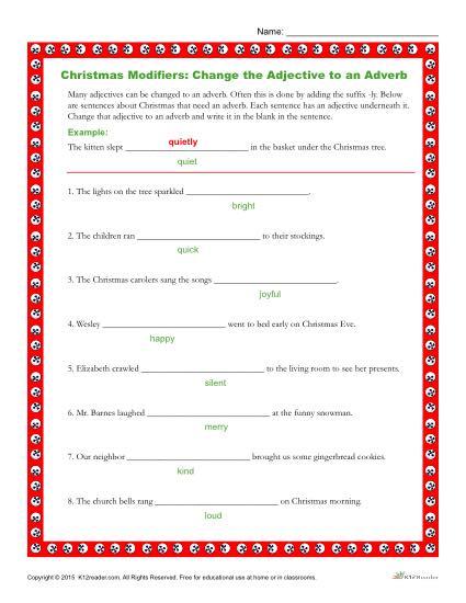 Christmas Modifiers Worksheet