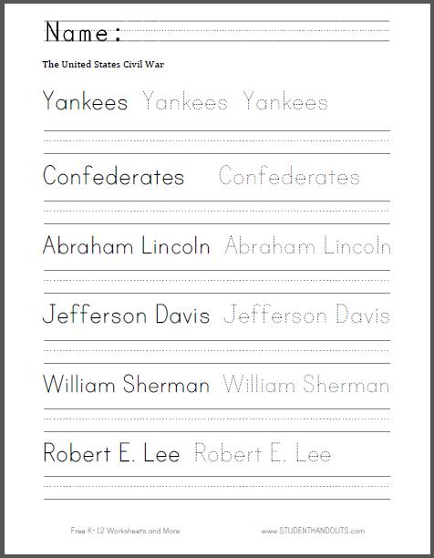 Civil War Spelling And Writing Worksheet