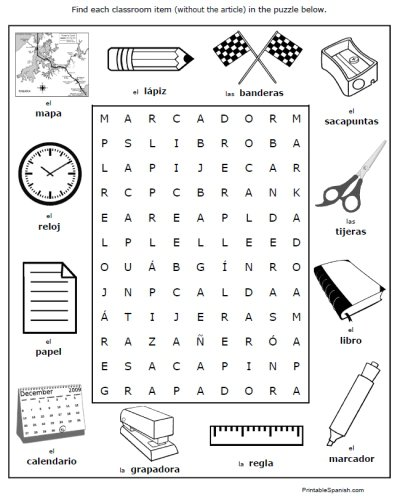 Classroom Objects In Spanish Worksheet Free Worksheets Library