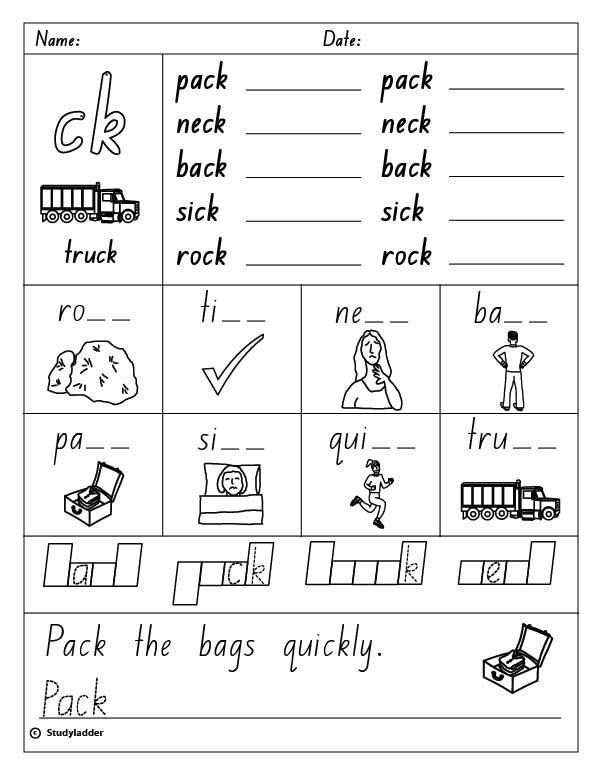 Consonant Digraph  Ck , English Skills Online, Interactive