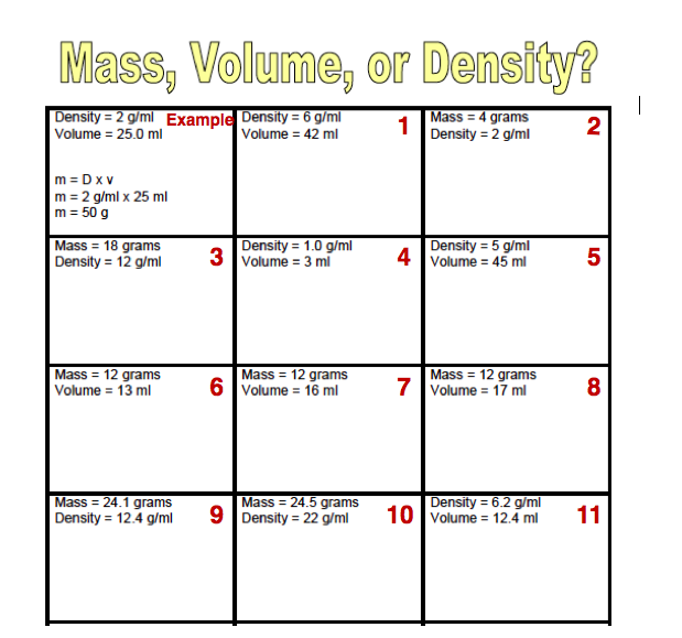 Density Mass Volume Worksheet Free Worksheets Library