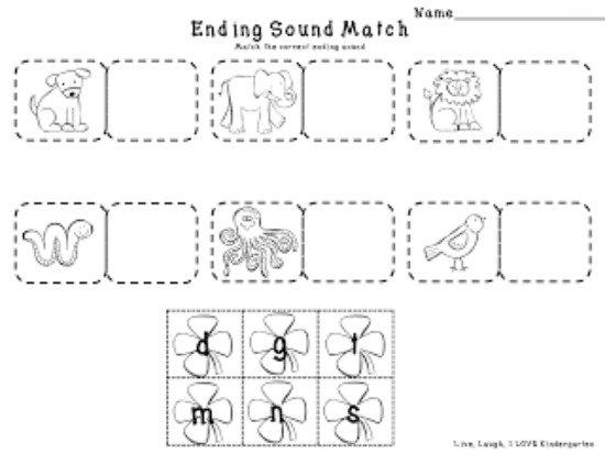 Ending Sounds Worksheets Kindergarten Free Worksheets Library