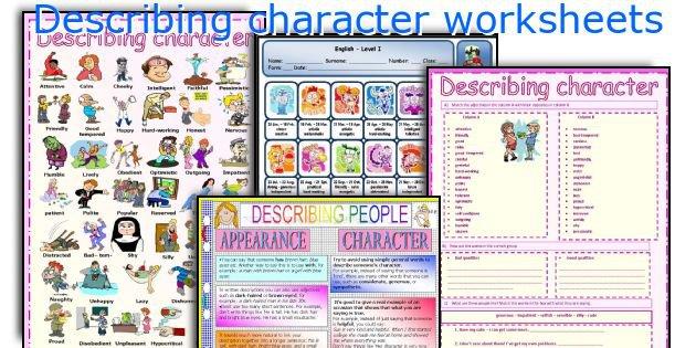 English Teaching Worksheets  Describing Character