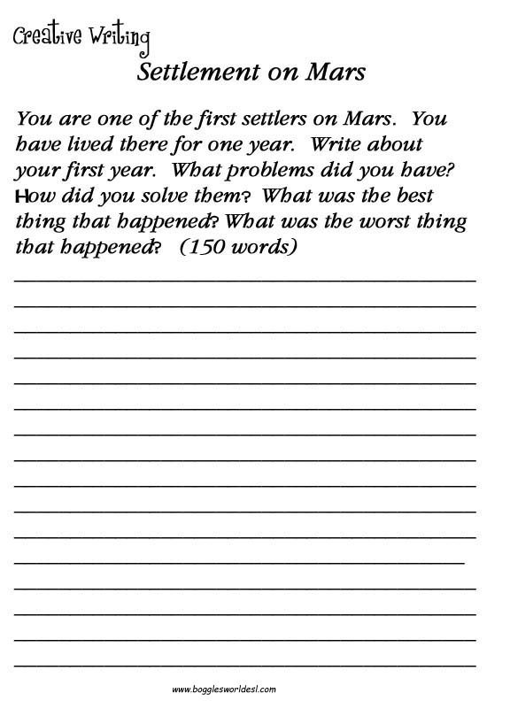 Esl Creative Writing Worksheets