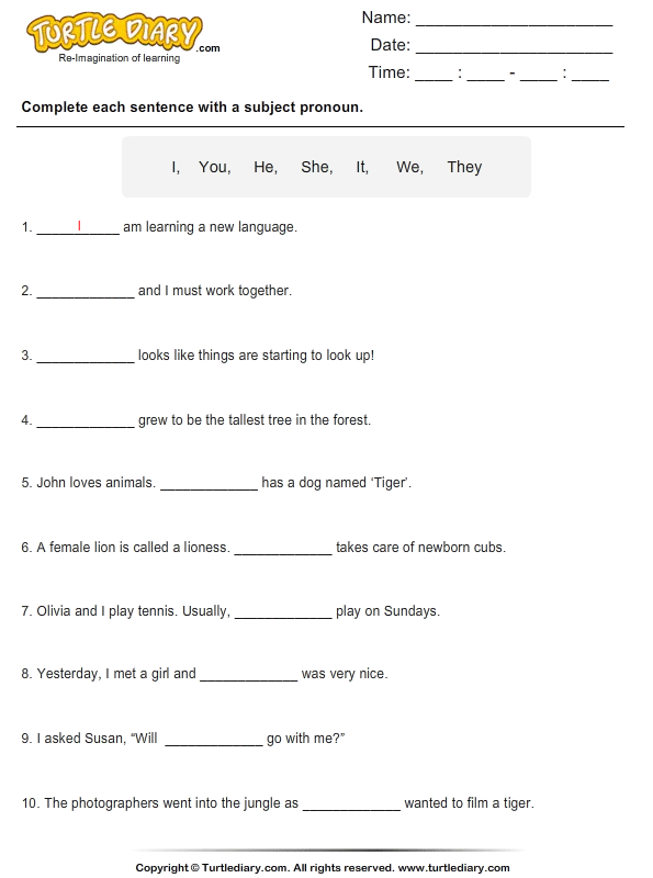 Fill In The Blanks With Subject Pronouns Worksheet