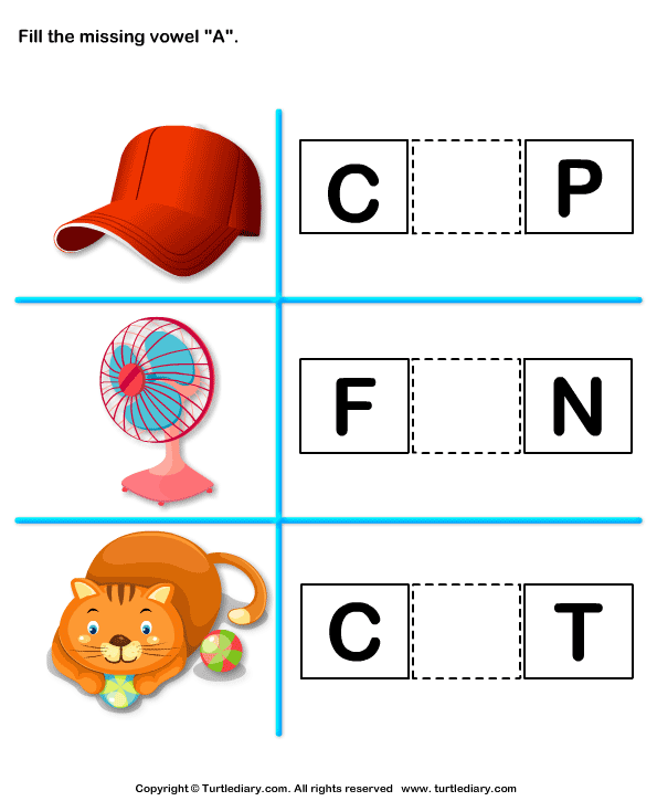 Fill In The Missing Vowel A Worksheet