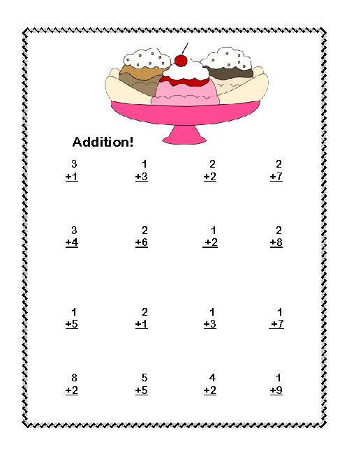 First Grade Math Addition & Subtraction Within 20 Worksheets Ice