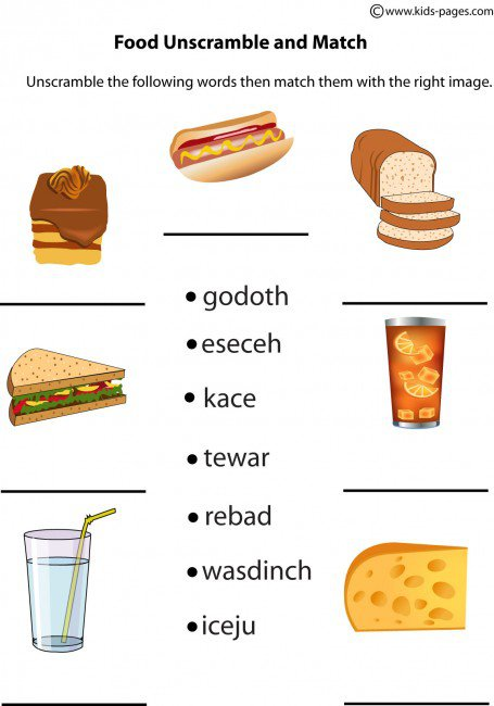Food Unscramble Worksheet