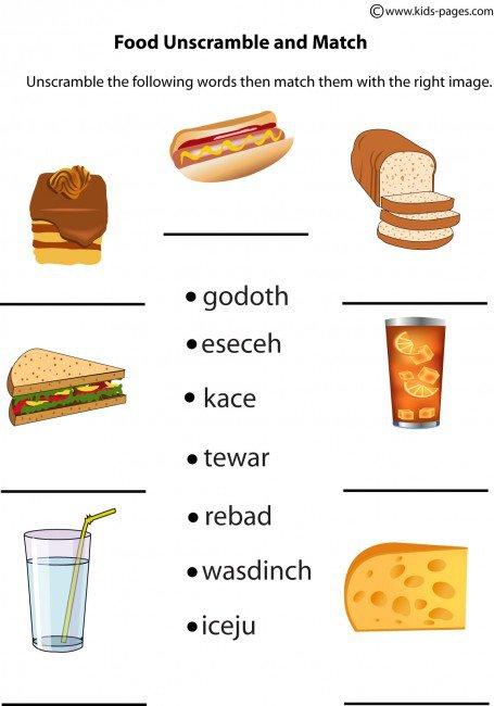 Food Unscramble Worksheet