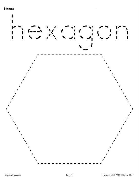 Free Hexagon Tracing Worksheet