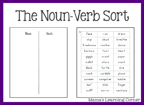 Free Parts Of Speech Worksheets  The Noun Verb Sort