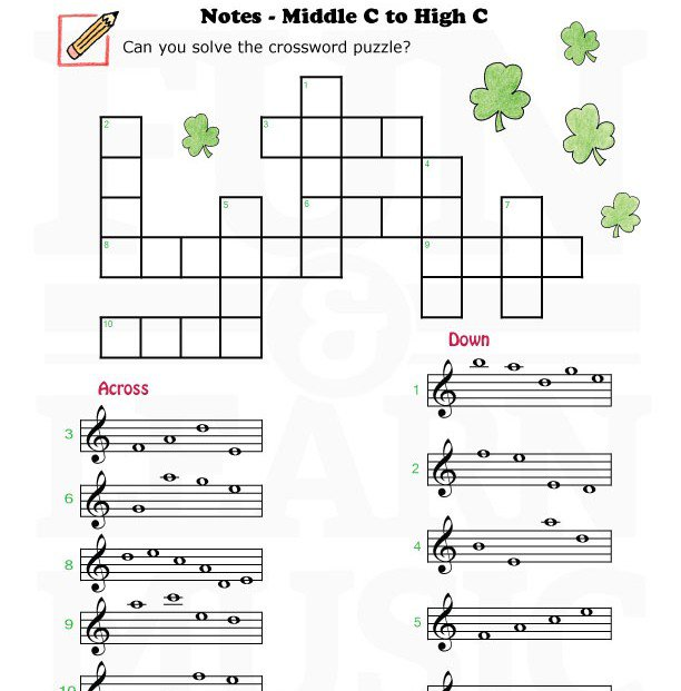 Fun And Learn Music » Music Worksheets – Treble Clef Middle C To