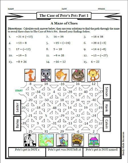 Fun Integers Worksheet