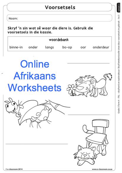 Grade 3 Online Afrikaans Worksheets Voorsetsels  For More Visit