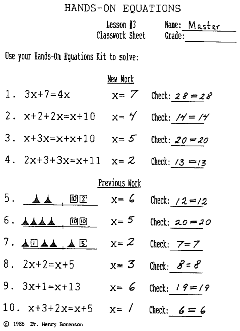 Hands On Equations, Lesson 3 Answer Key
