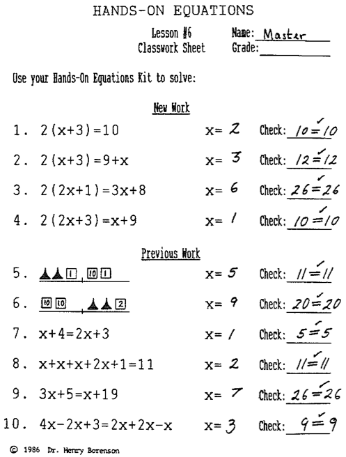 Hands On Equations, Lesson 6 Answer Key