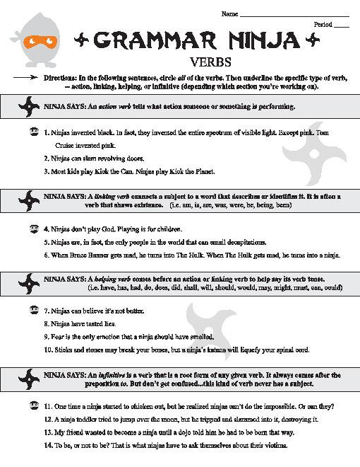 Helping Verbs Worksheet Middle School Free Worksheets Library
