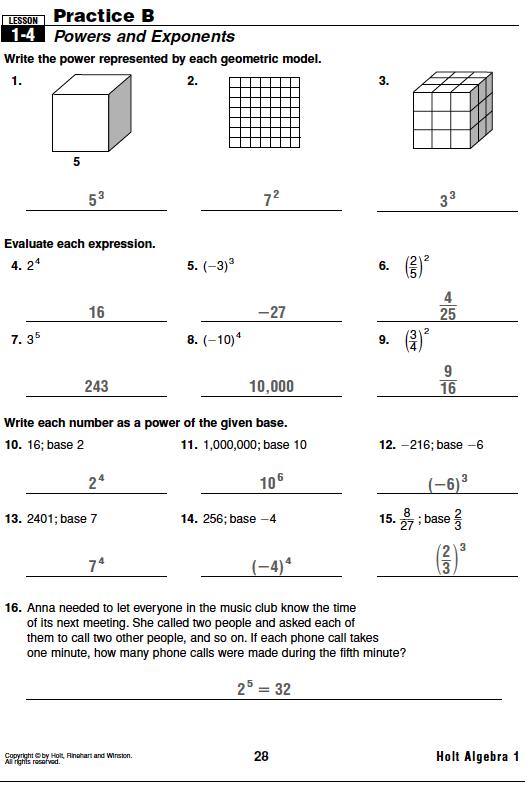 Holt Algebra 1 Worksheet Answers Free Worksheets Library