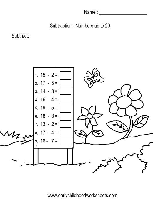 Horizontal Subtraction Worksheets