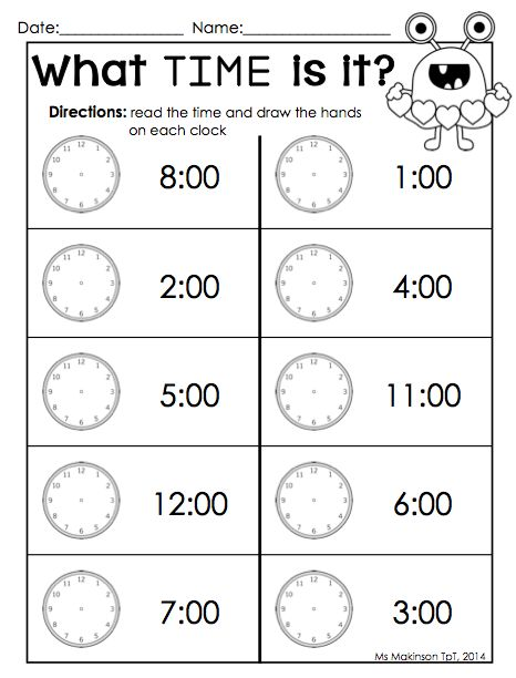 Kindergarten Time Worksheets Free Worksheets Library