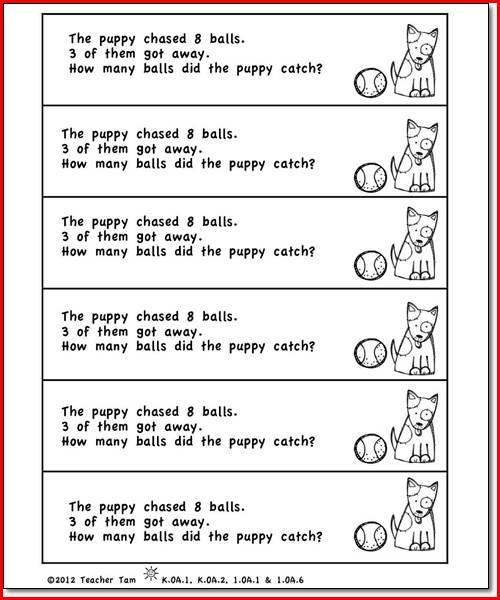 Kindergarten Word Problem Worksheets Free Worksheets Library