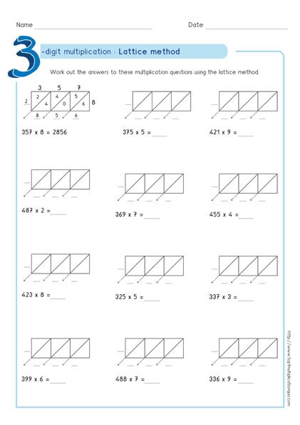 Lattice Method Multiplication 3