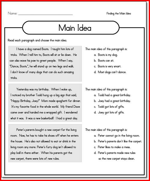 Main Idea Worksheets For 3rd Grade Free Worksheets Library