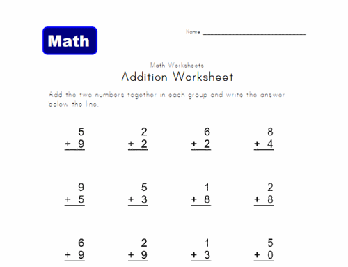 Math Worksheets For 1st Grade