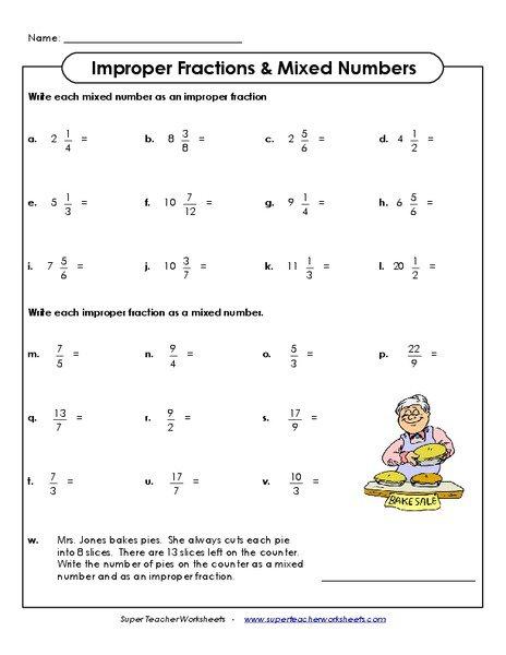 Mixed Number Improper Fraction Worksheet Free Worksheets Library