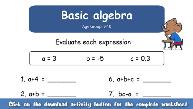 Number Names Worksheets » Early Algebra Worksheets