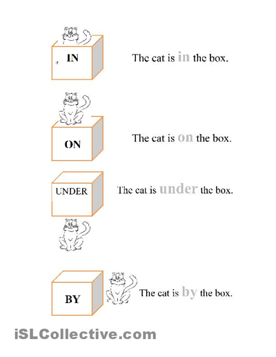 On In Under Worksheets