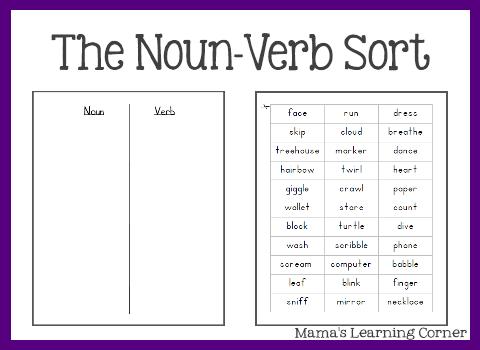 Parts Of Speech  The Noun Verb Sort
