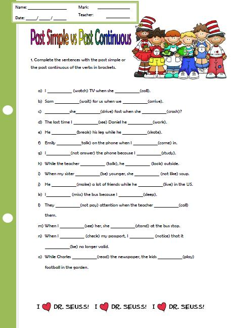 Past Continuous Worksheet Free Worksheets Library