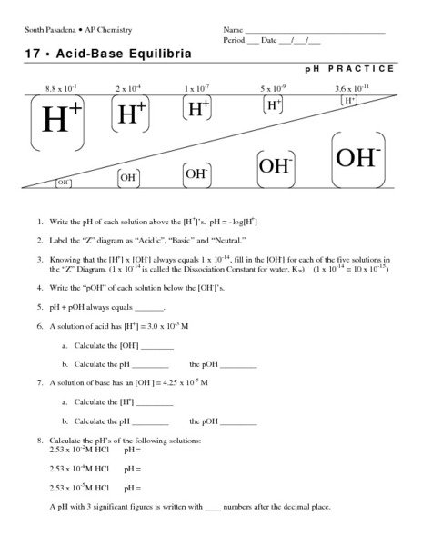 Ph And Poh Worksheet Free Worksheets Library