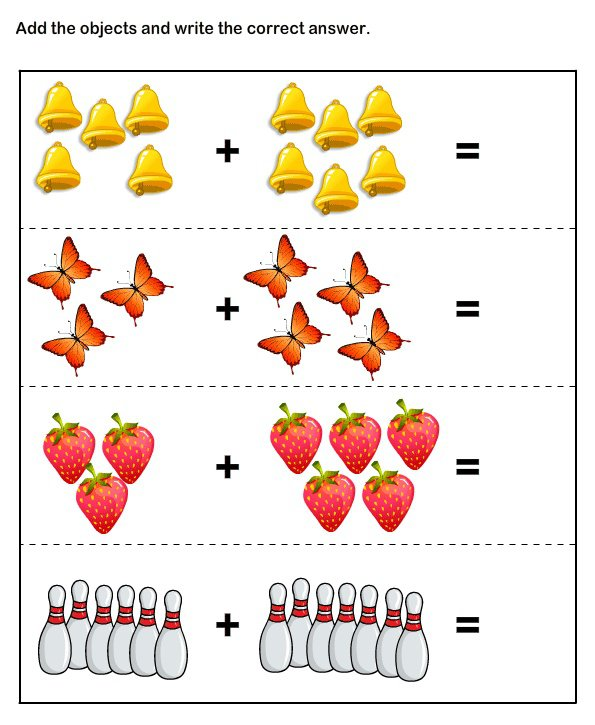 Printable Math Worksheets For Kindergarten Addition And