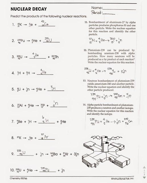 Printables  Nuclear Decay Worksheet  Ronleyba Worksheets Printables