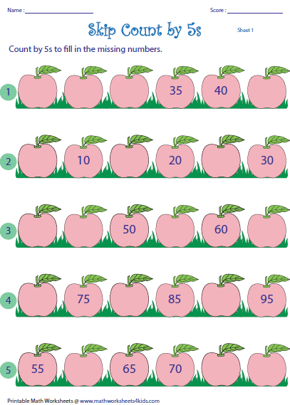 Skip Counting By 5s Worksheets